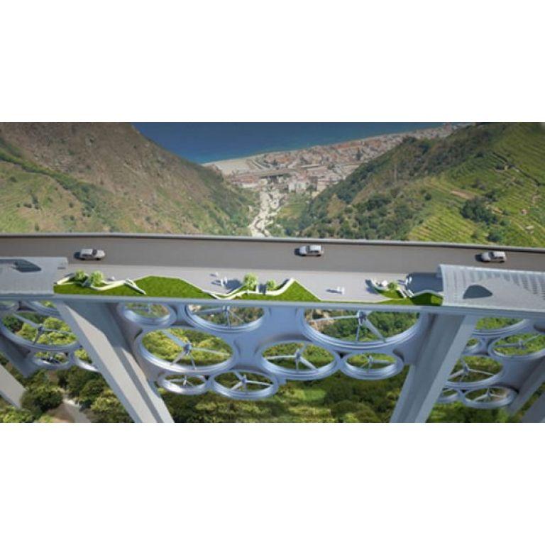 Un puente con turbinas eólicas y paneles solares merece ser realidad