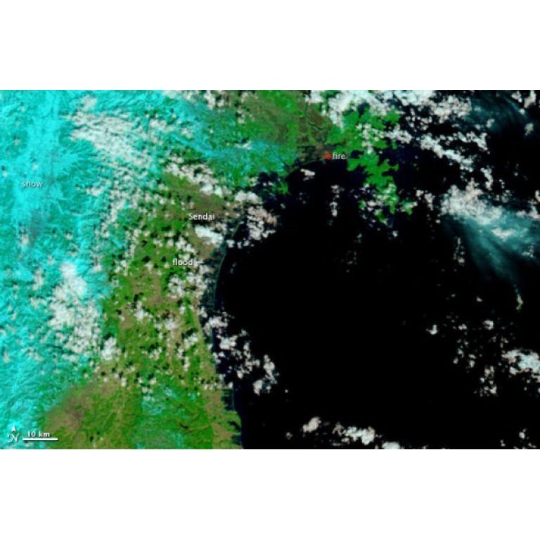 Japón: Imágen satelital demuestra la fuerza del Tsunami