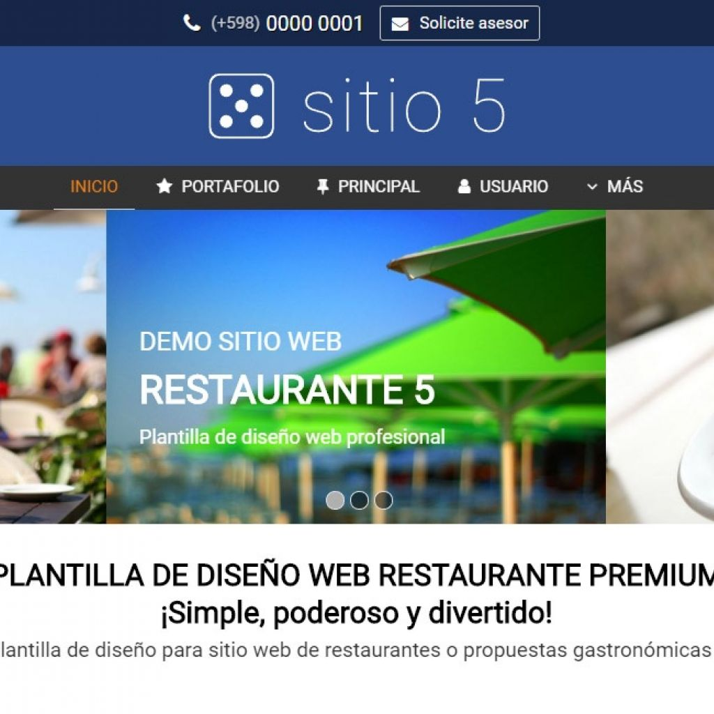Ejemplo de plantilla #5 para diseño de sitio web institucional corporativo.